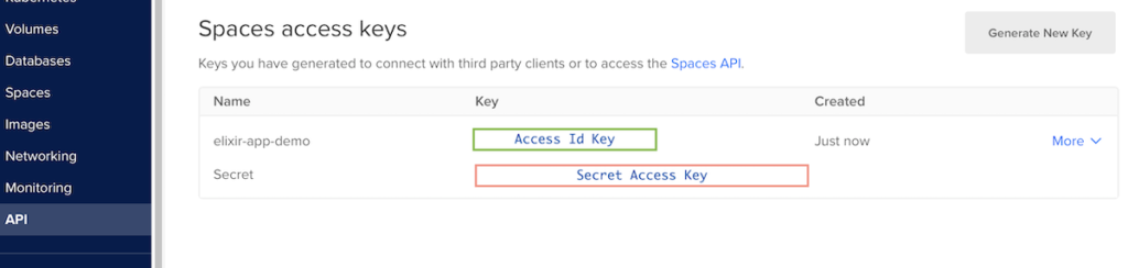 Spaces access keys